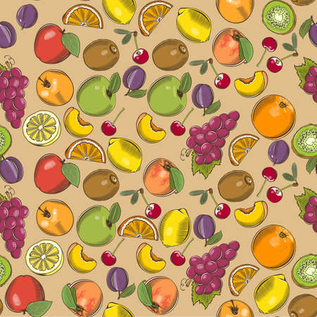 Colored seamless pattern with different fruits in vintage style Ilustrace