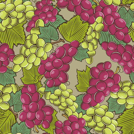 Colored seamless pattern with green and red grapes in vintage style