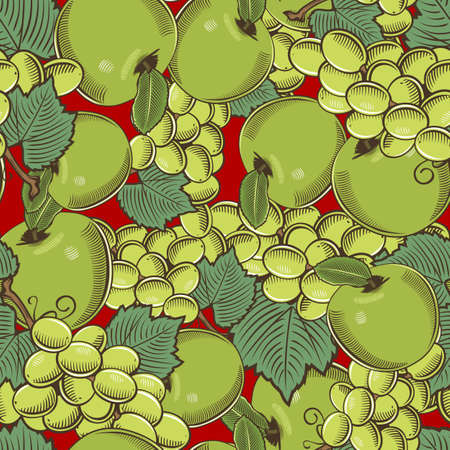 Colored seamless pattern with green apples and grapes in vintage style