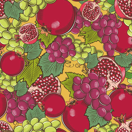 Colored seamless pattern with pomegranates and grapes in vintage style
