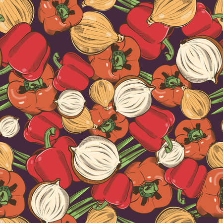 Colored seamless pattern with red pepper and onion in vintage style