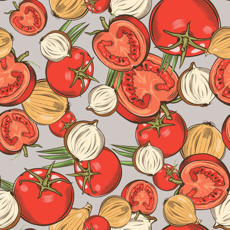 Colored seamless pattern with tomatoes and onions in vintage style