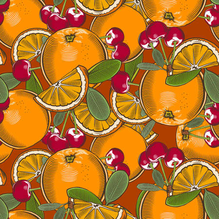 Colored seamless pattern with oranges and cherries in vintage style Ilustrace