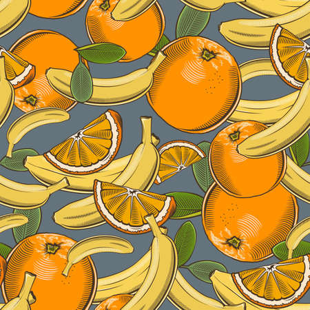 Colored seamless pattern with bananas and oranges in vintage style Ilustrace