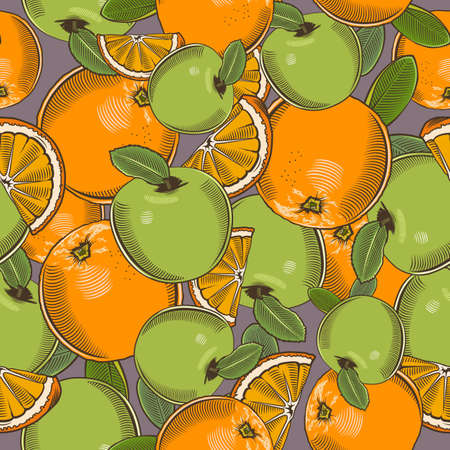 Colored seamless pattern with green apples and oranges in vintage style Ilustrace