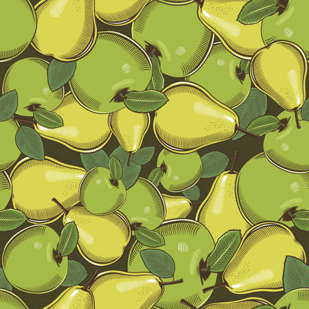 Colored seamless pattern with green apples and pears in vintage style Ilustrace