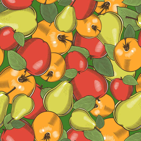 Colored seamless pattern with apples and pears in vintage style Illustration