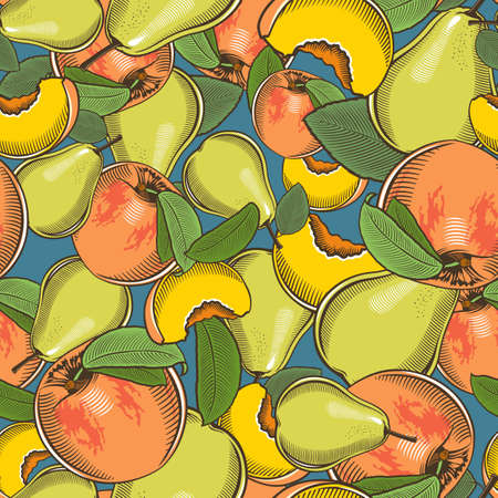 Colored seamless pattern with peaches and pears in vintage style Illustration