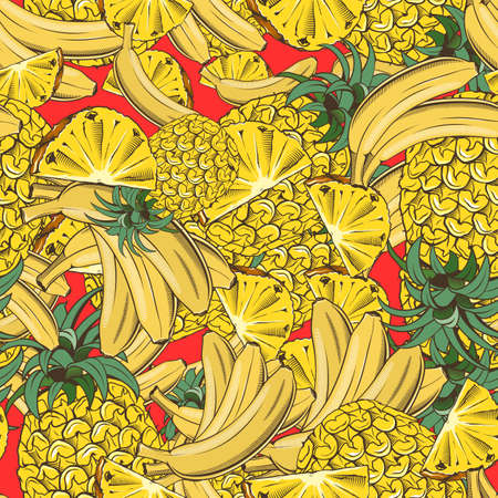 Colored seamless pattern with pineapples and bananas in vintage style Illustration