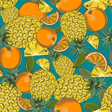 Colored seamless pattern with pineapples and oranges in vintage style