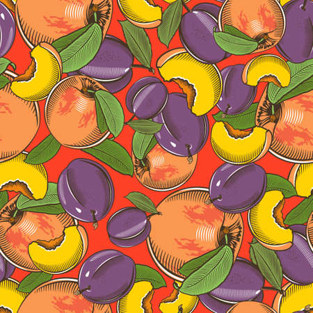 Colored seamless pattern with peaches and plums in vintage style Illustration