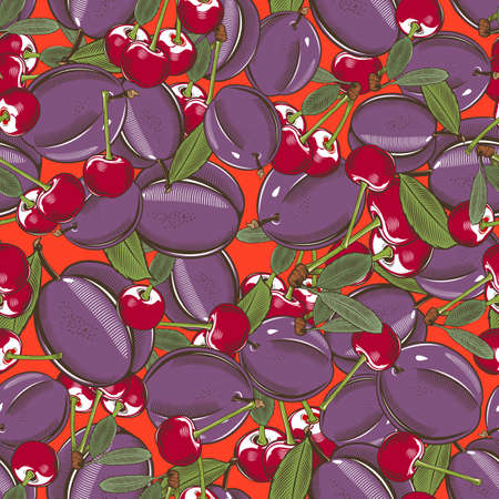 Colored seamless pattern with plums and cherries in vintage style Illustration