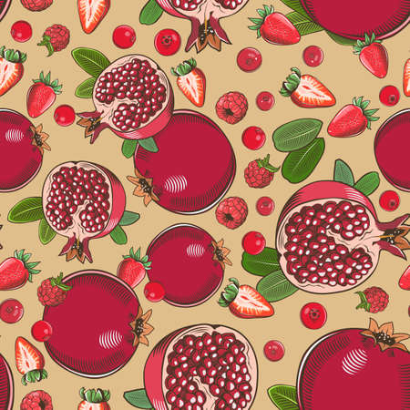 Colored seamless pattern with pomegranates and various berries in vintage style