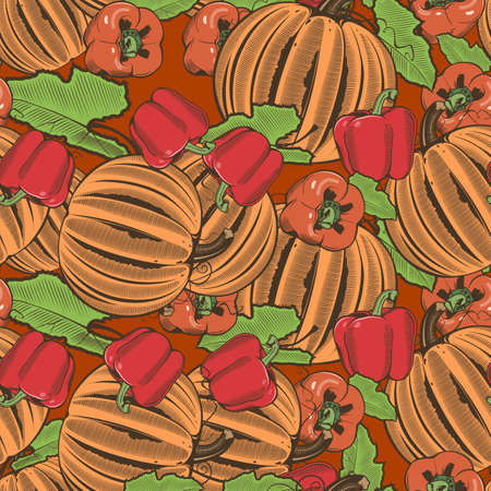 Colored seamless pattern with pumpkins and red pepper in vintage style Illustration