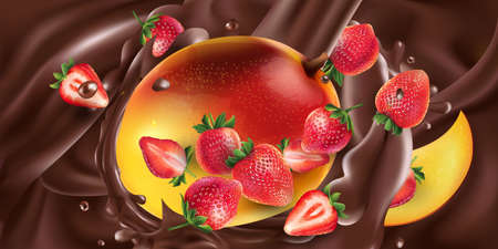 Fresh mango with strawberries in liquid chocolate. Illustration