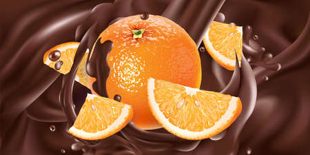 Whole and sliced oranges in liquid chocolate. Illustration