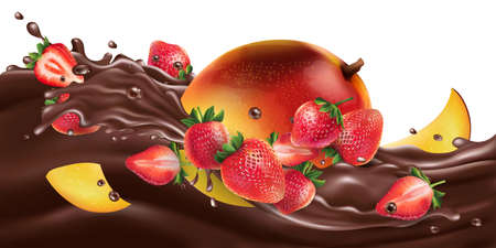 Fresh mango with strawberries on a chocolate wave.