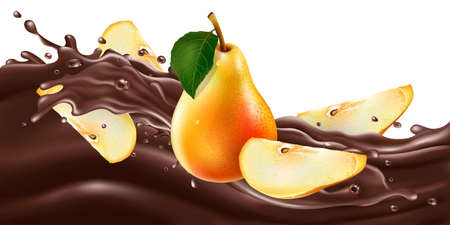 Whole and sliced pears on a chocolate wave.