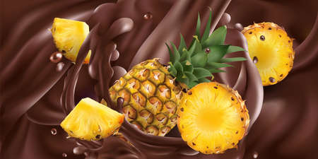Whole and sliced pineapples in liquid chocolate.