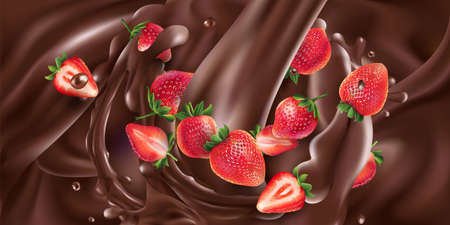 Whole and sliced strawberries in liquid chocolate. Illustration