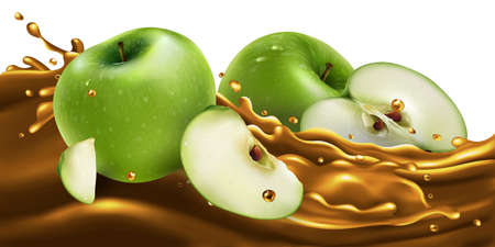Whole and sliced green apples on a fruit juice wave.