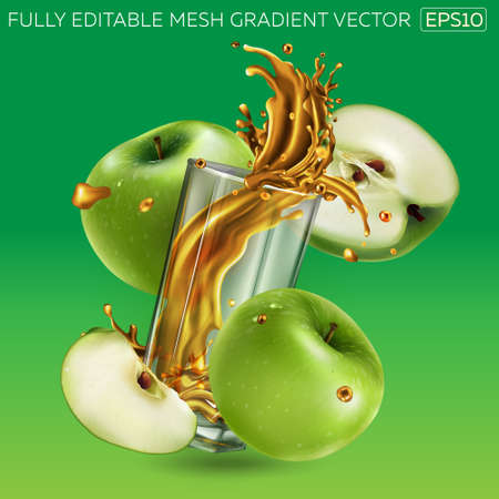Fruit juice splashing in a glass and green apples around it. Illustration