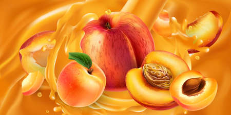 Whole and sliced peaches and apricots in fruit juice.