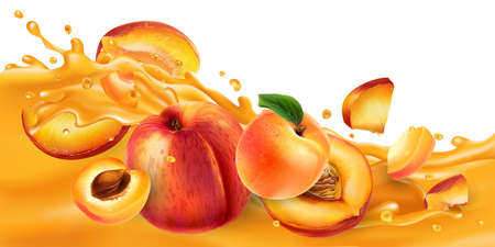 Whole and sliced peaches and apricots on a fruit juice wave.