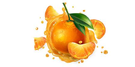 Fresh mandarins and a splash of fruit juice.