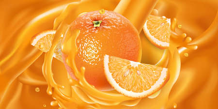Whole orange and slices in fruit juice.