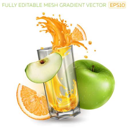 Splash of fruit juice in a glass, green apple and orange. Ilustracja