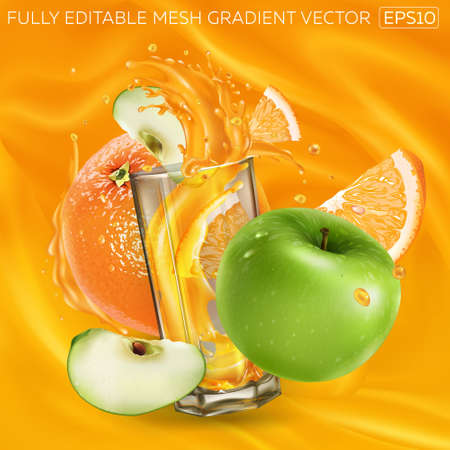 Orange, green apple and a glass of juice on a background of fruit juice. Illustration