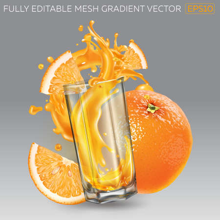 Splash of fruit juice in a glass, whole and sliced orange.