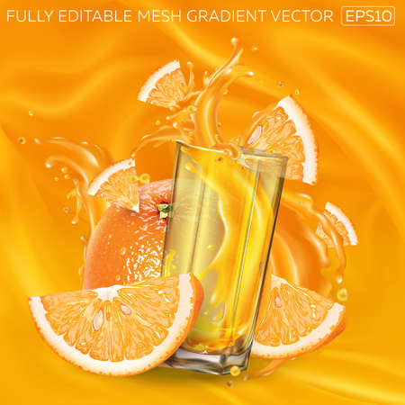 Oranges and a glass of splashing juice on a background of fruit juice.
