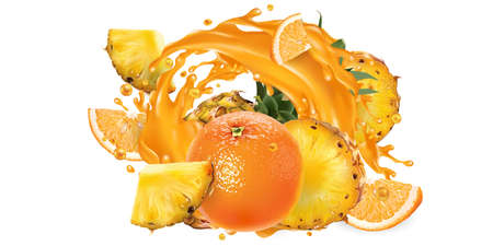Pineapples and oranges in a juice splash.