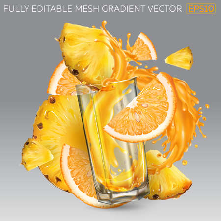 Splash of fruit juice in a glass, pineapple and orange slices.