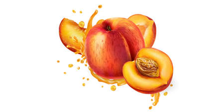 Whole and sliced peaches in fruit juice splashes. Illustration