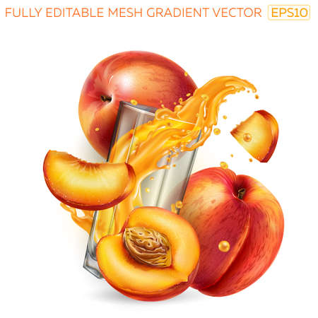 Splash of fruit juice in a glass among fresh peaches.