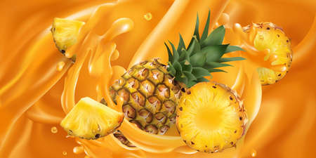 Whole and sliced pineapple in fruit juice.