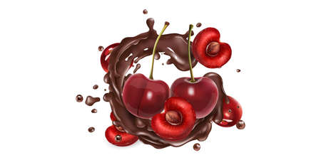 Fresh cherries and a splash of liquid chocolate. Ilustracja
