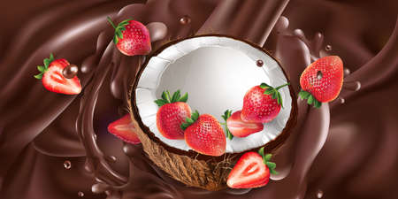 Fresh coconut with strawberries in liquid chocolate.