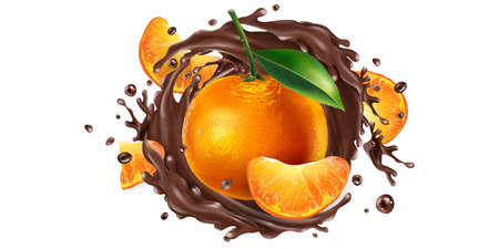 Whole and sliced mandarins in a chocolate splash. Illustration