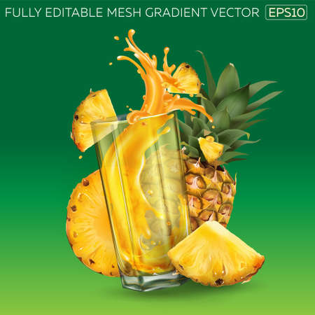 Pineapples and a glass of juice on a green background.