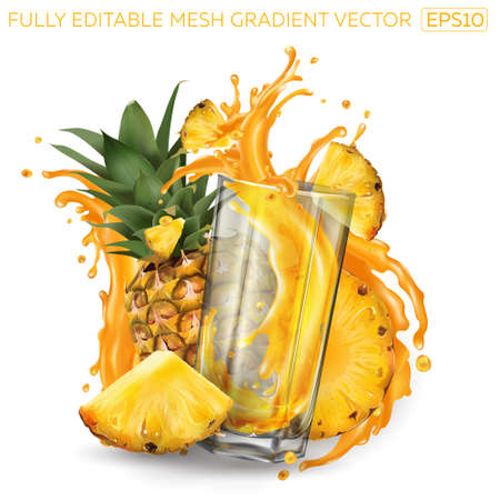 Pineapples and a glass of splashing juice on a white background. Illustration