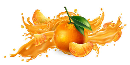 Splash of fruit juice and fresh mandarins. Vetores