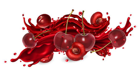 Splash of fruit juice and fresh cherries.