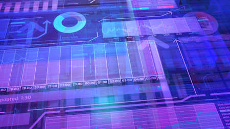 Violet background with layers of stock trading data.