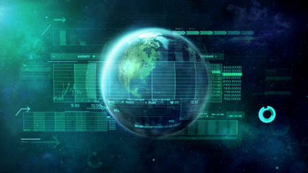 Planet Earth, World digital economic and trade space.
