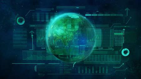 Illustration on the theme of digital economy of the world.