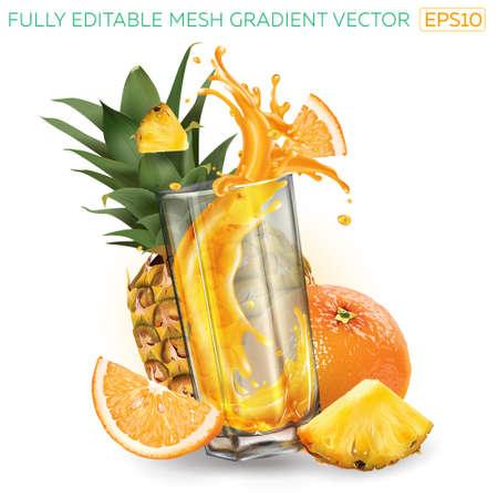 Fruit juice splashing in a glass, whole and sliced pineapple and orange. Illusztráció